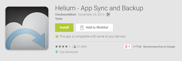 helium Android backup