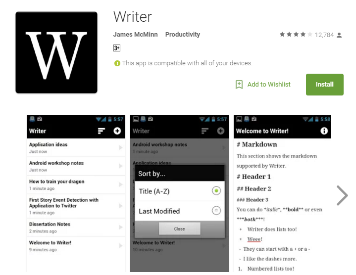 Writer Android Apps
