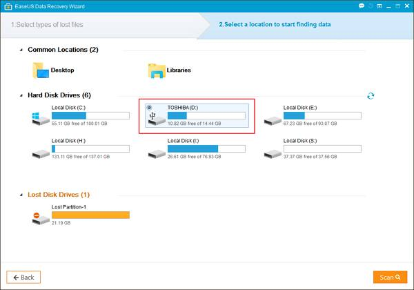 Step 2 - How to Recover your Data Though EaseUS Data Recovery Software
