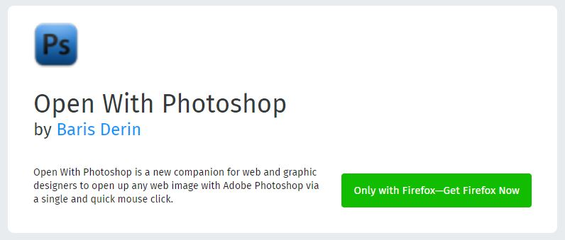 Open with Photoshop - BestMozilla Firefox Add-Ons for Web Designers & Developers