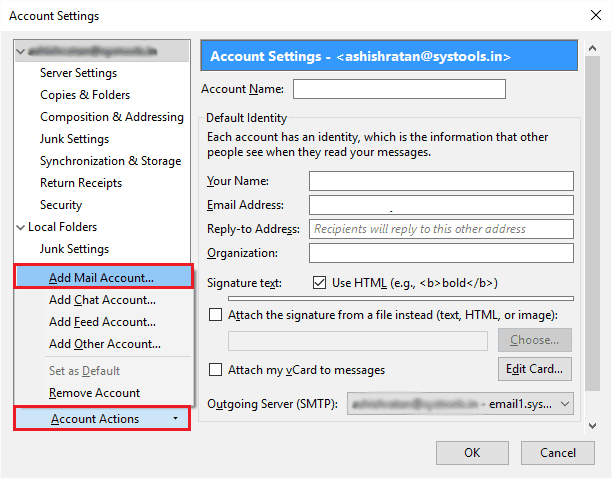 Add Mail Account - Create Backup of Gmail Email Account Data