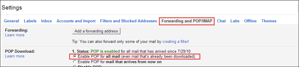 Enable Pop - Create Backup of Gmail Email Account Data