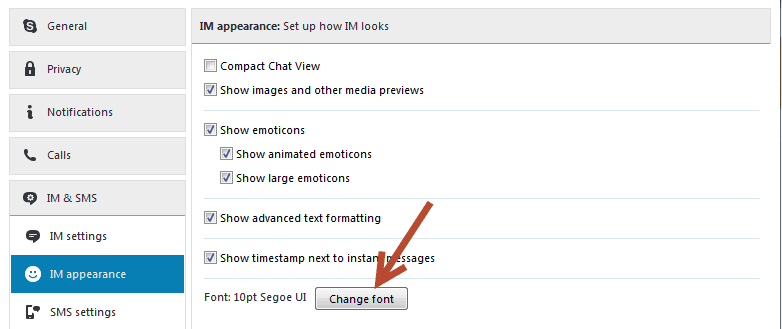 font size - Advanced Skype Tips and Tricks