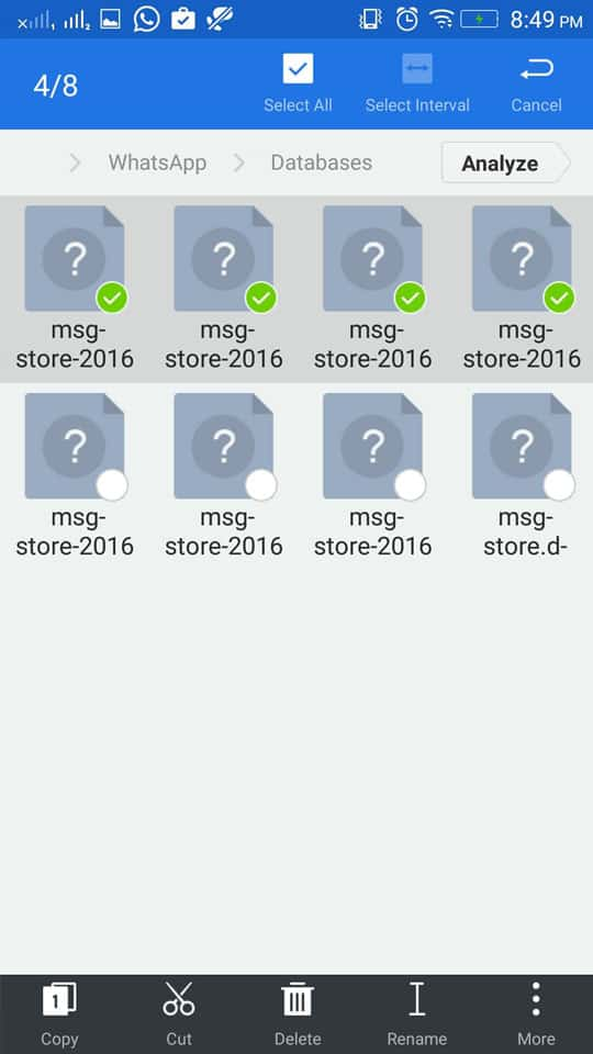 select backup - How To Recover Deleted WhatsApp Messages