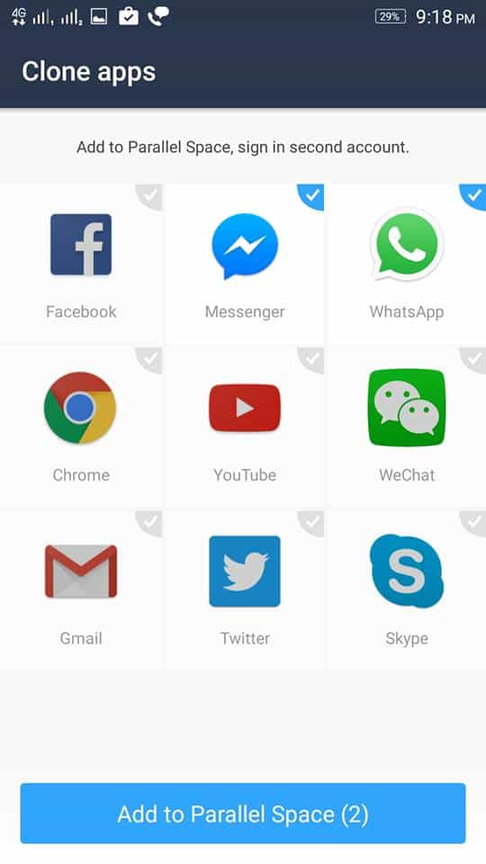 Select Whatsapp - How to use Parallel Space